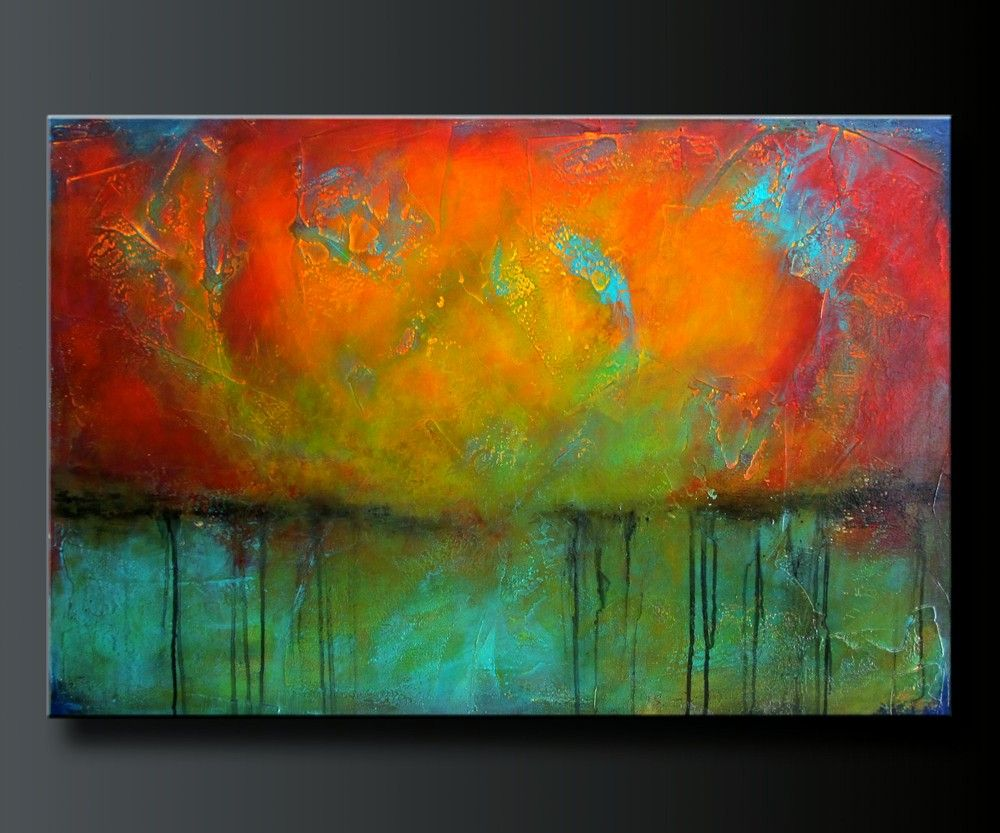 Abstract acrylic painting. Contemporary wall art. www ...