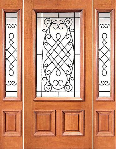 Xr 201 1 2 Prehung Mahogany 3 4 Lite House Door With Two Sidelights