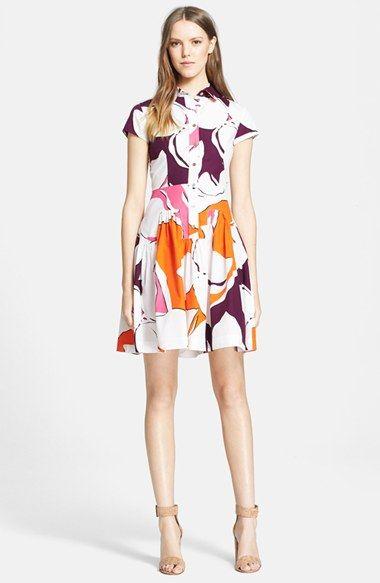 Diane von Furstenberg 'Scarlet' Floral Print Cotton Shirtdress available at #Nordstrom