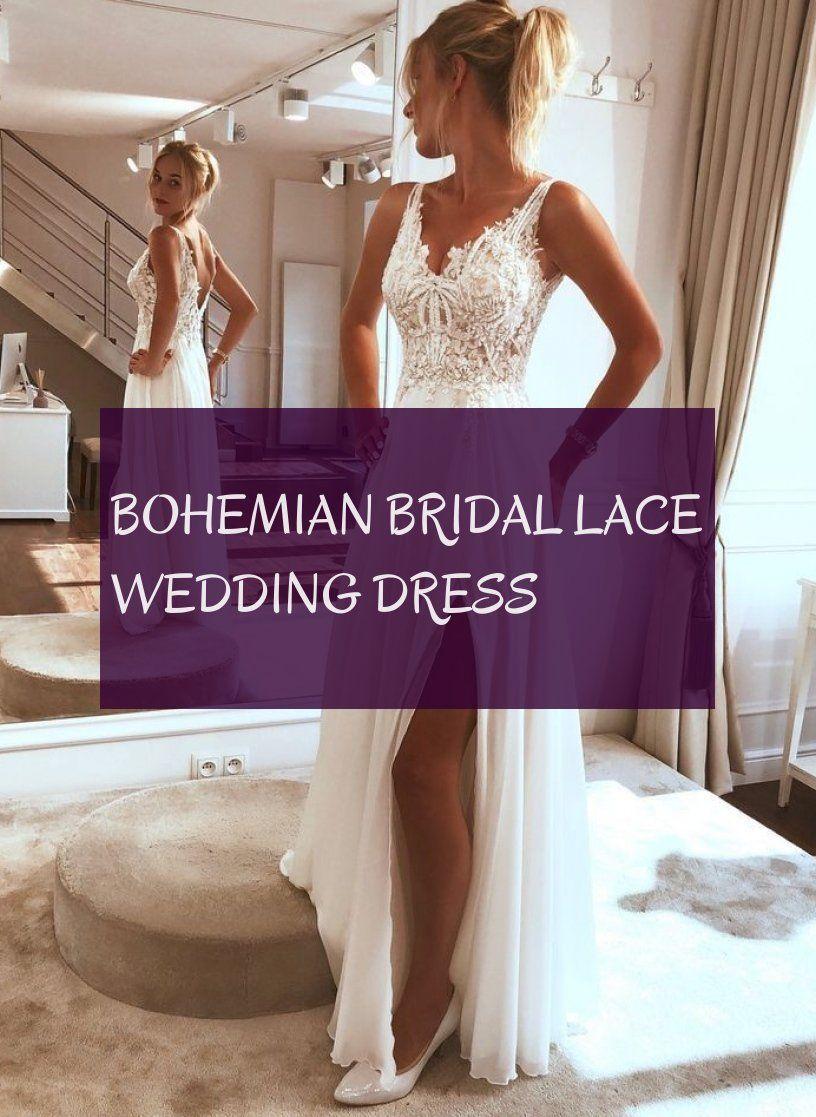 Robe De Mariée En Dentelle De Mariée Bohème Bohemian Bridal Lace Wedding Dress