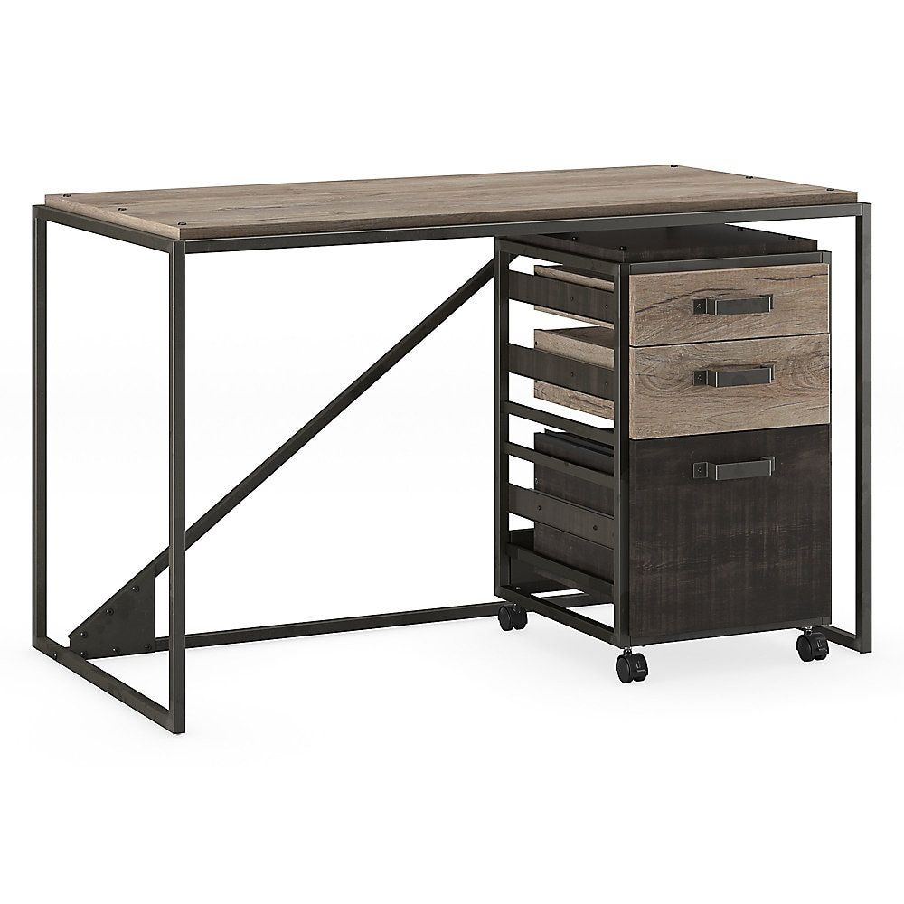 Bush Furniture Refinery Industrial Desk With 3 Drawer Mobile File