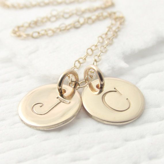 Solid gold double initial necklace gold charm by prolifiquejewelry solid gold double initial necklace gold charm by prolifiquejewelry mozeypictures Images