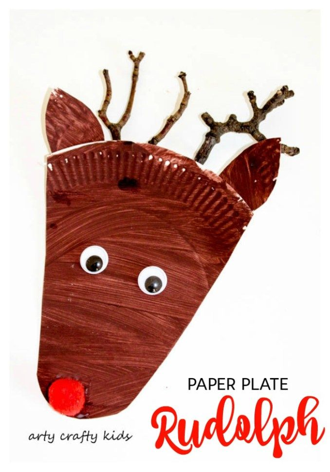 Paper Plate Rudolph Reindeer Craft - Arty Crafty Kids  sc 1 st  Pinterest & Paper Plate Rudolph Reindeer Craft | Christmas paper plates Crafty ...