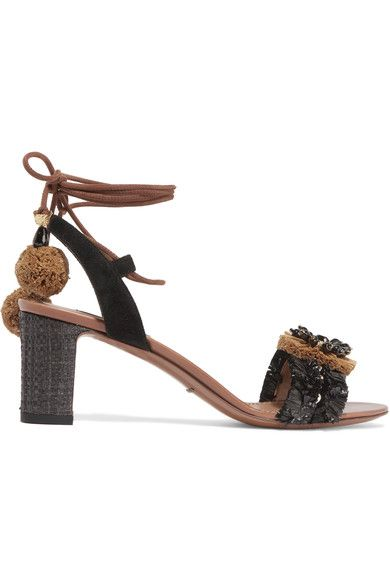 03a85bda9577 DOLCE   GABBANA Suede and raffia-trimmed embellished leather sandals.   dolcegabbana  shoes  sandals