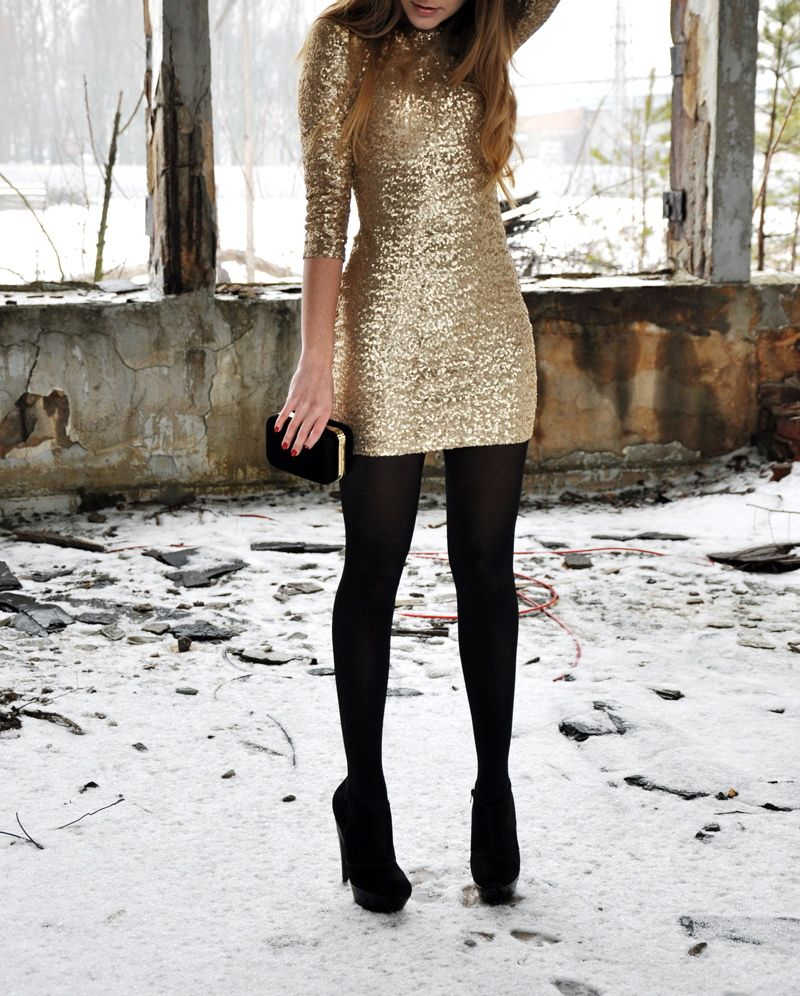 Beautiful sequin dress paired with black tights = great