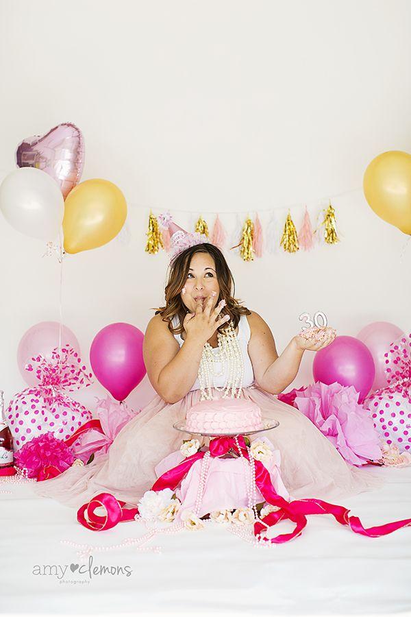 30th Birthday Cake Smash Amy Clemons Photography
