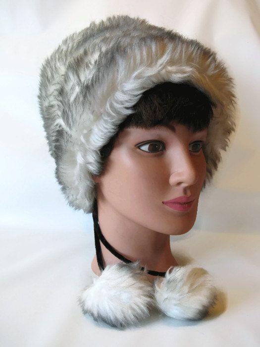 dfd28b884f972b vintage faux fur hat / velvet strings with fur balls / white w grey accents  / 1960s