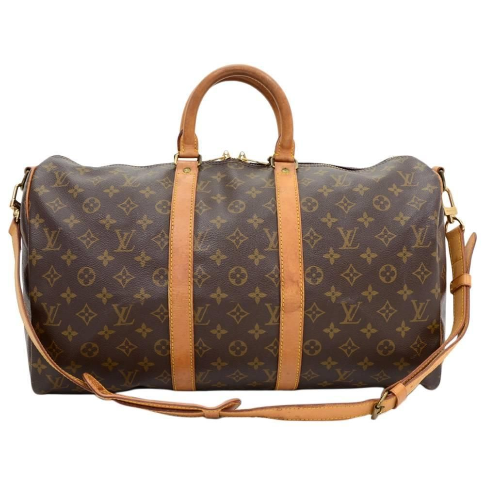 92a8d6b285 Vintage Louis Vuitton Keepall 45 Bandouliere Monogram Canvas Duffle Travel  Bag | 1stdibs.com