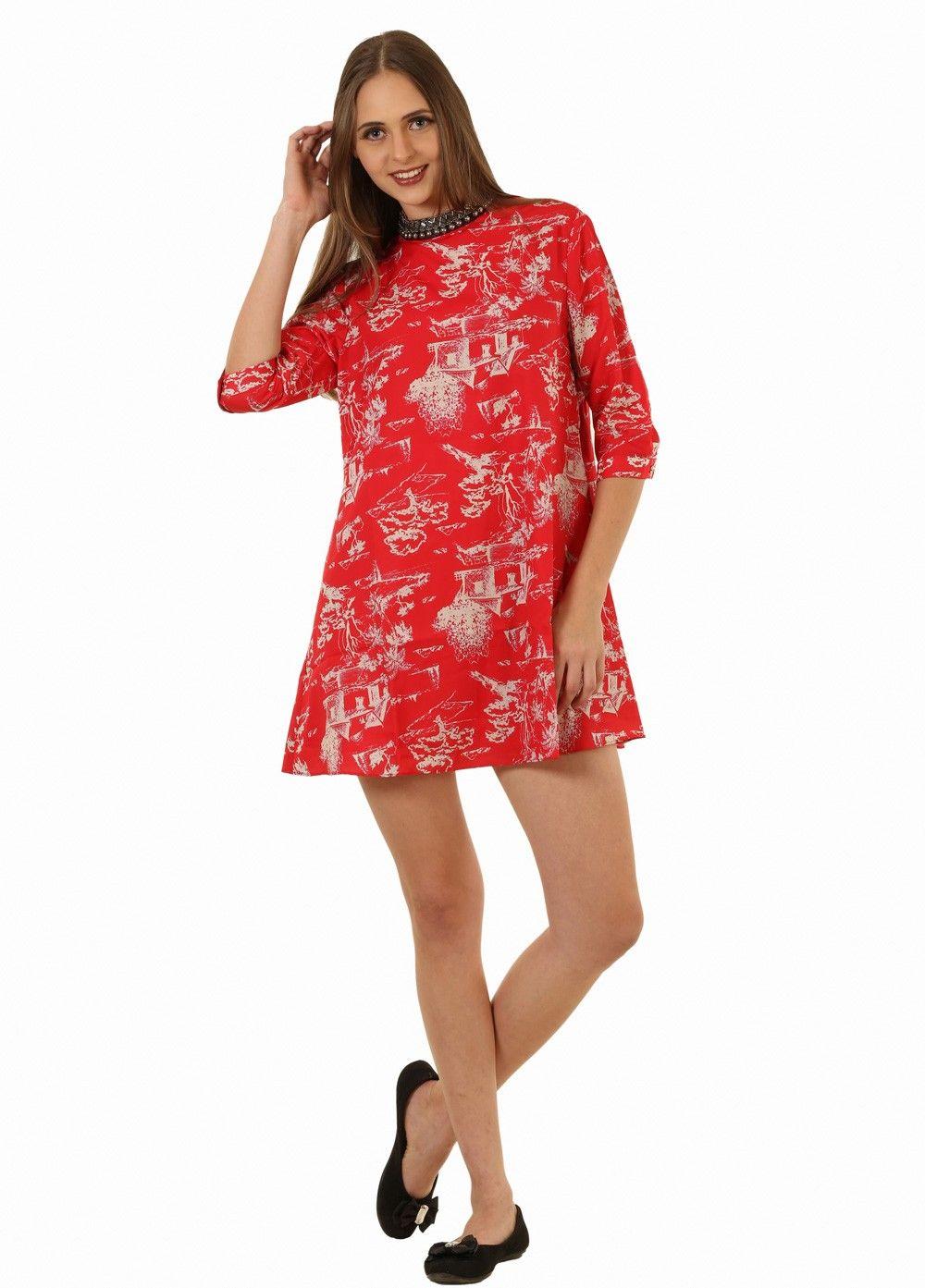 Red Embroidered Net Western Dress For Women -partywear -shortdress ...