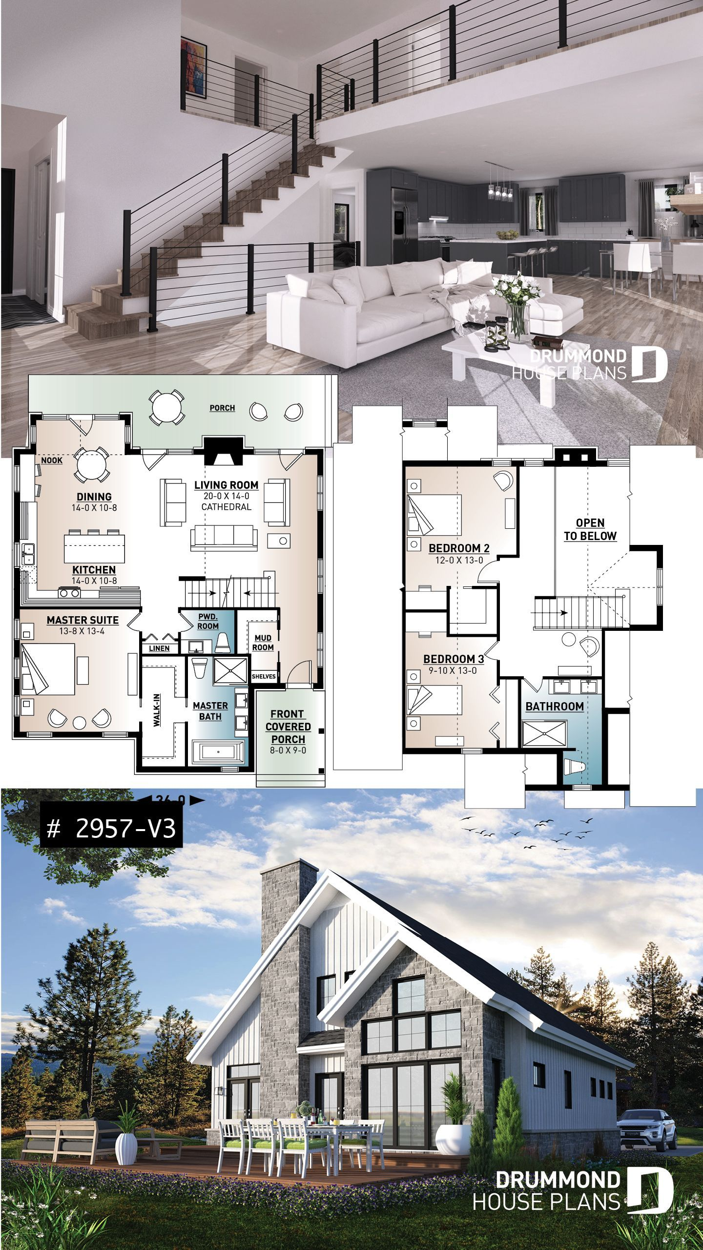 Cottage Farmhouse Lakefront White 3 Bedroom Mountain Style House Plan With Panoramic View Cath Cottage House Plans House Plans Farmhouse Sims House Plans