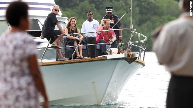 The royal couple visits Tuvanipupu Island in Honiara on Monday. Sept.17, 2012