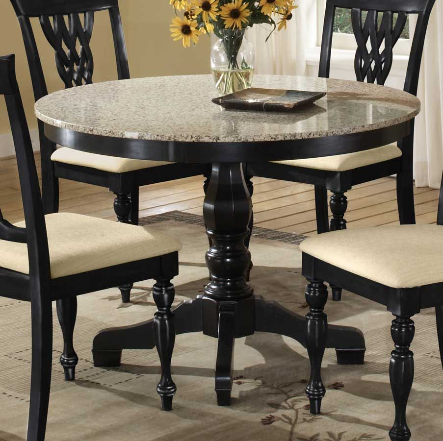 Dining Room Exciting Design Using Granite Top Black Wood Round Pedestal Table Including Sunflower Centerpiece And