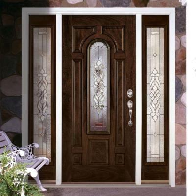 Feather River Doors 67 5 In X 81 625 In Lakewood Zinc Stained Chestnut Mahogany Left Hand Fiberglass Prehung Front Door With Sidelites E22790 3b4 The Home D In 2020 Door Glass Design Entry Doors