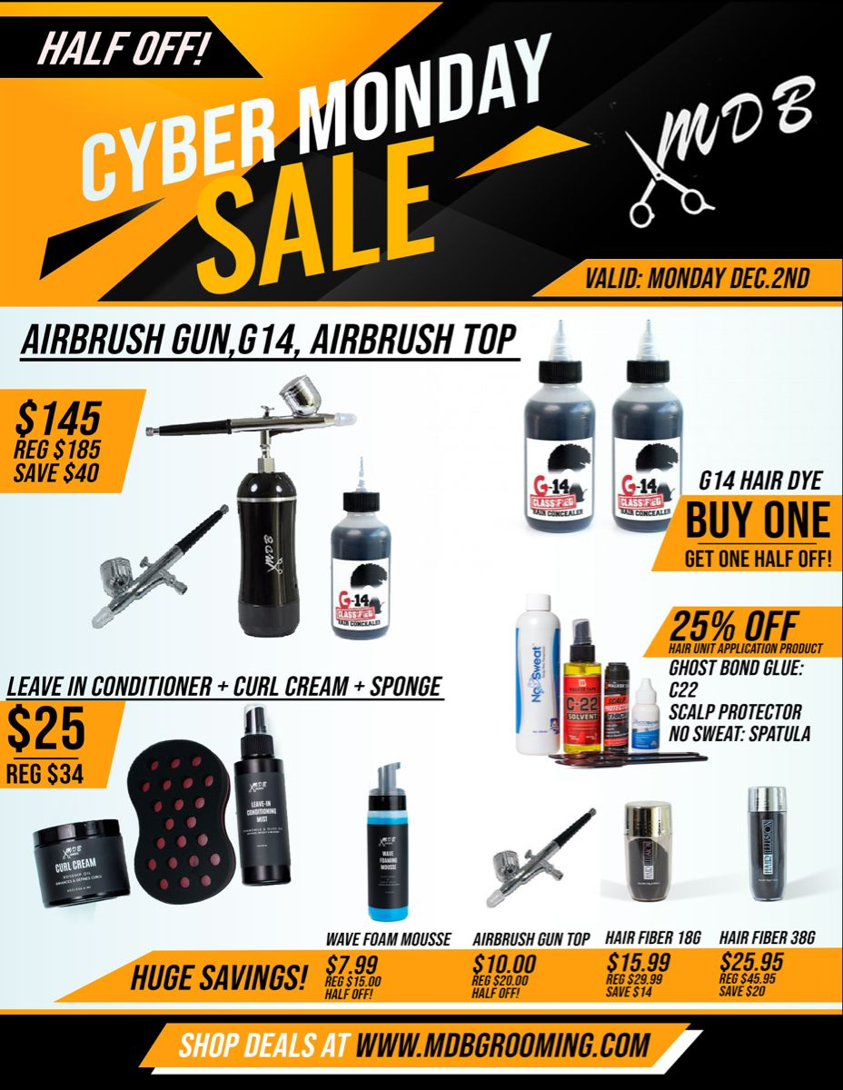 Check out MDB Grooming Cyber Monday Sale Up to 60% off! #hairunit #grooming #groomingproduct #blackfriday #blackfridaysale #blackfridaydeals #cybermonday #manweave #menshairstyles #menhair #hairreplacement #mickeydabarber #mdbgrooming#mengrooming #barber #barberlife #haircut #hair #hairgoals #haircare