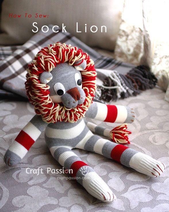 Sock Lion Free Sewing Pattern Sock Animals Socks And Sewing