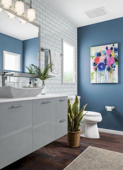 trendy bathroom dark floor white vanity ideas  wood floor