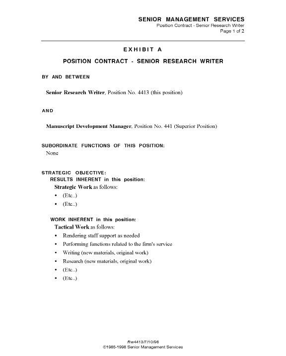 Sample Position Contract, Page 1 - Business Model - model contract - Mutual Agreement Template