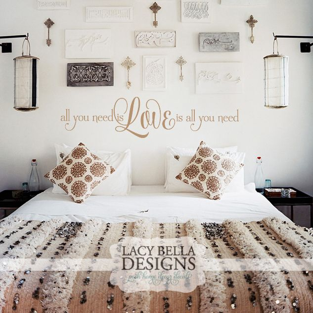 "Beatles Song Lyric Wall Quote:  ""All You Need Is Love, Love Is All You Need"" is a Beatles song lyrics turned wall decal home decor to remind you of life's sweetest emotion, love. The wonderful thing about our wall decal designs is that you can always find something that suits your decor needs. We give you lots of size options and suggest sizes that would suit best over your bed size. See more unique wall decal designs at www.lacybella.com"