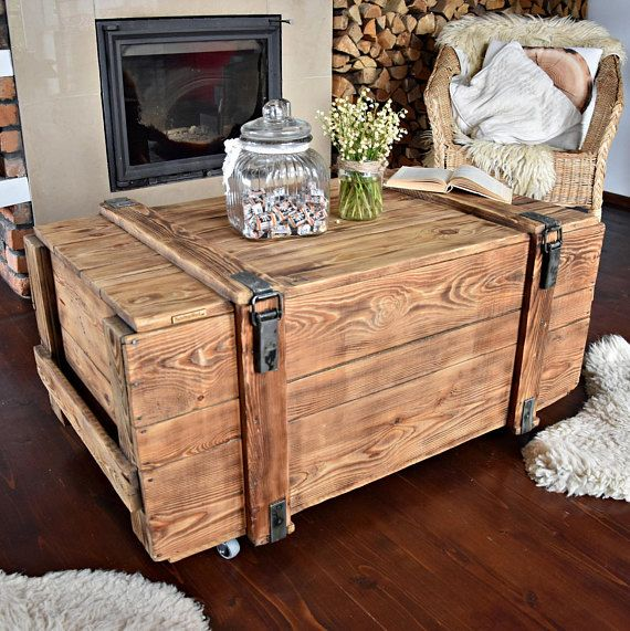 Vintage Antique Old big Army military Chest Trunk Box coffee table ...