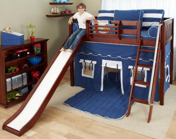 Do It Yourself Home Design: Fun Bunk Bed With A Tent And A Slide!