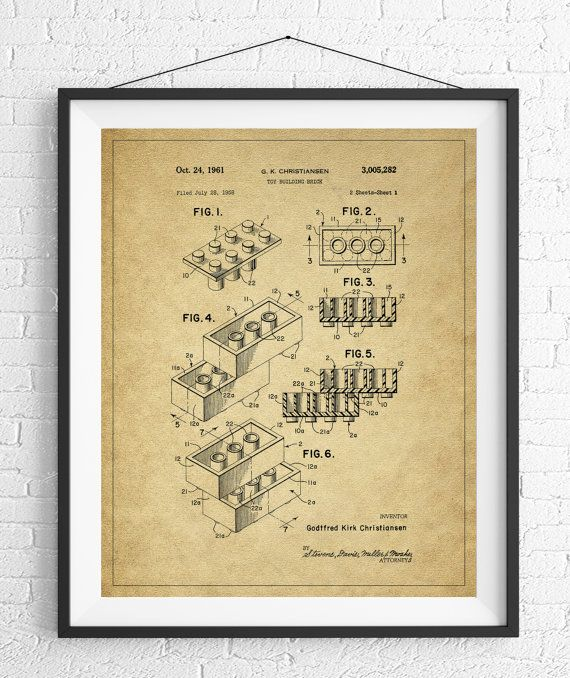 Lego patent print game room art toy art game room wall art lego patent print game room art toy art game room wall art blueprint vintage patent poster geek gifts boys room art nerd gifts malvernweather Images