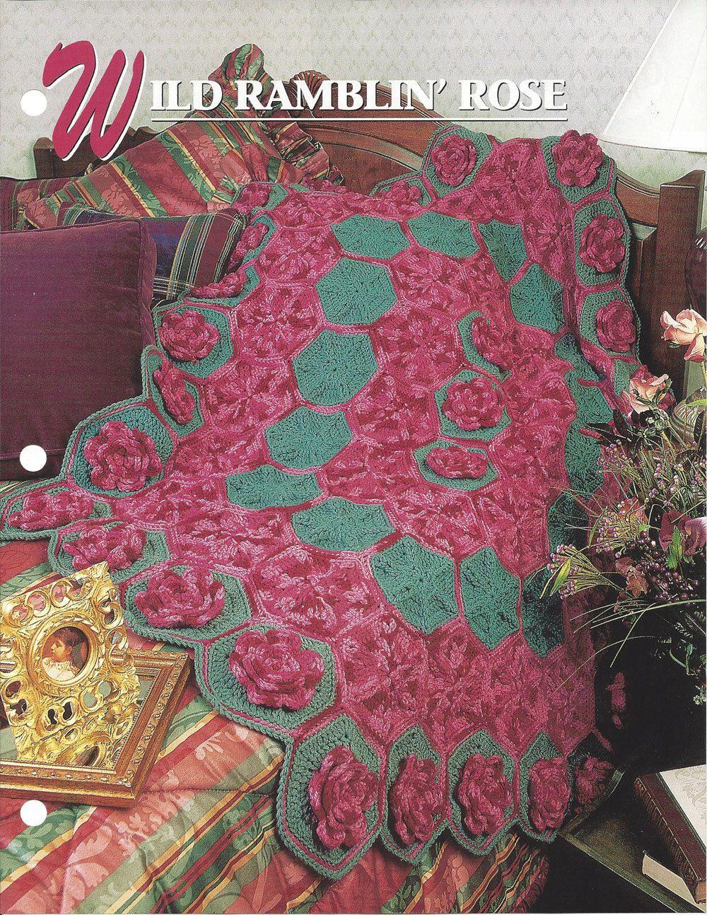 ✿  ✿ Silvestres Sinuosos de Rosa Crochê Coberta Acolchoada Malha itens decorativos Criações -  /  ✿  ✿ Wild Rambling Rose Crochet Quilt Knit Knacks Creations -