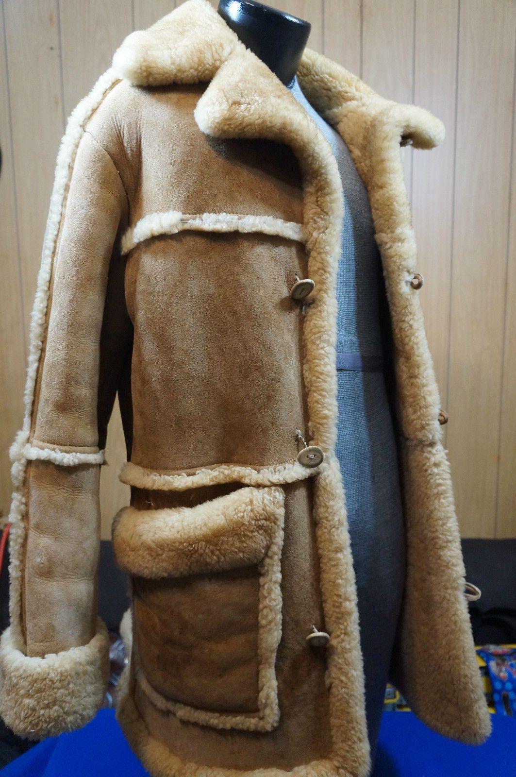 Shearling Coat Vintage Rancher Marlboro Man Plush