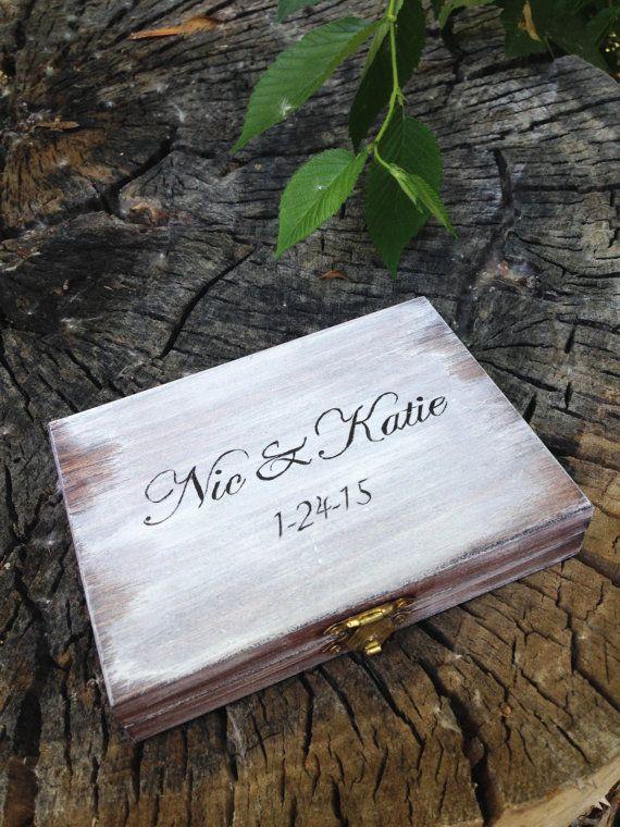 Personalized Ring Bearer Box, Rustic Wedding, Ring Bearer Pillow Alternative, Rustic Ring Bearer Box, Wedding Ring Box
