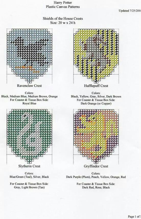 Harry Potter house crests | graphgan | Pinterest | Kawaii, Punto de ...