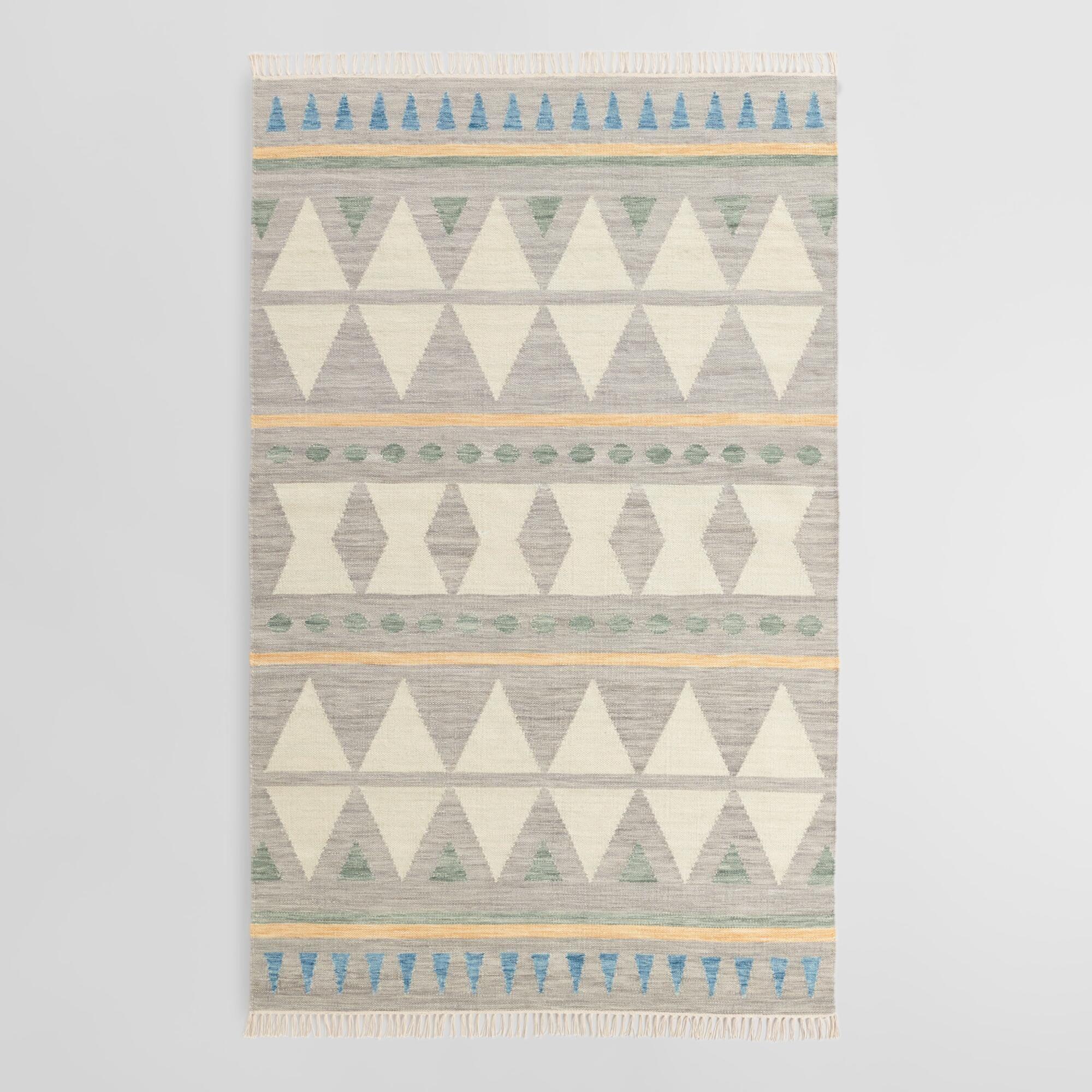 Blue Diamond Wool Kilim Lekan Area Rug Gray Cotton 8 X 10