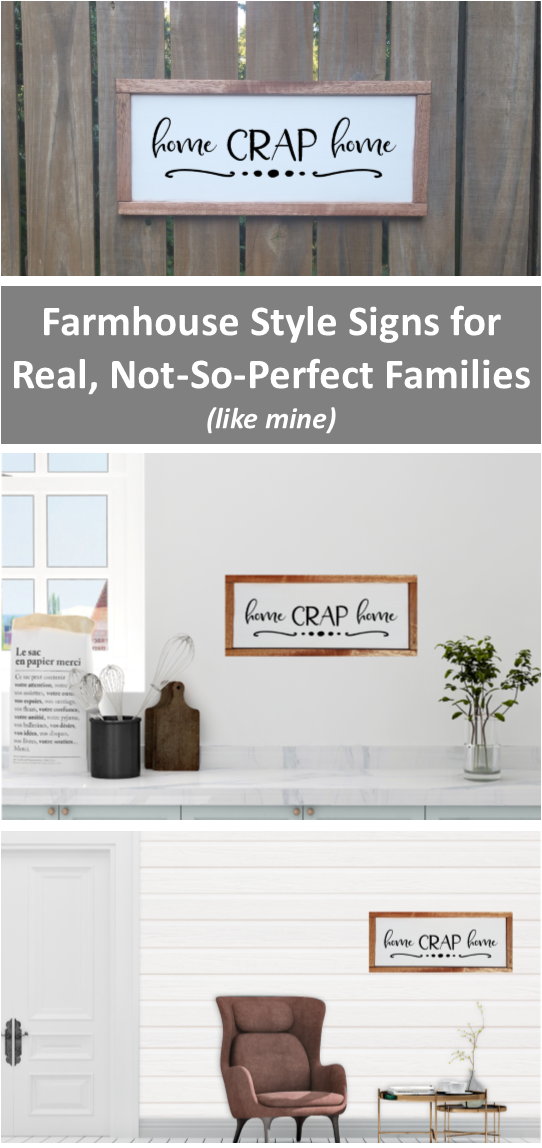 Home Crap Home Farmhouse Wooden Sign, Funny Framed Sign, Sarcastic ...