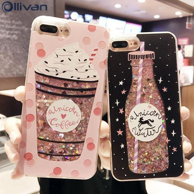 30d060777c iPhone Liquid Unicorn Diamond Glitter Coffee Lover Phone Case in ...