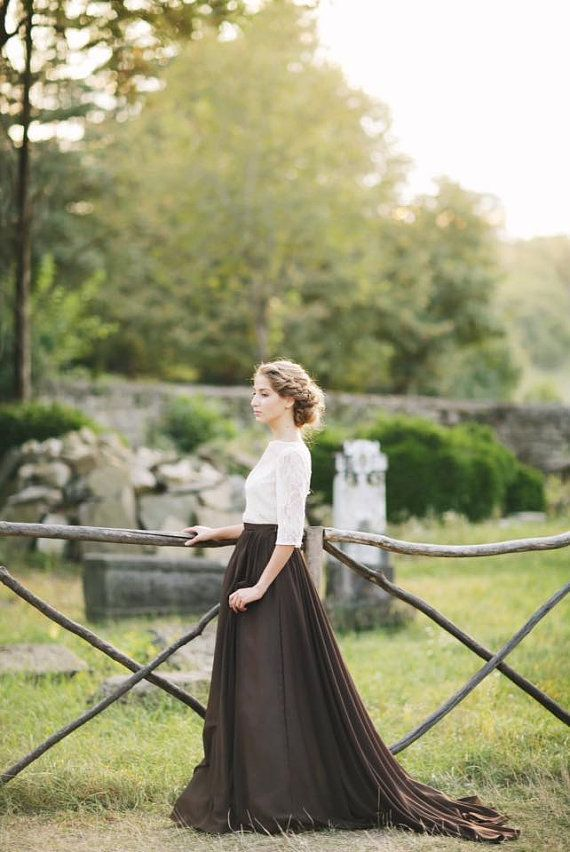 Country Wedding dress with a chocolate skirt and lace bodice / http://www.deerpearlflowers.com/unique-sophisticated-wedding-dresses-from-cathy-telle/2/