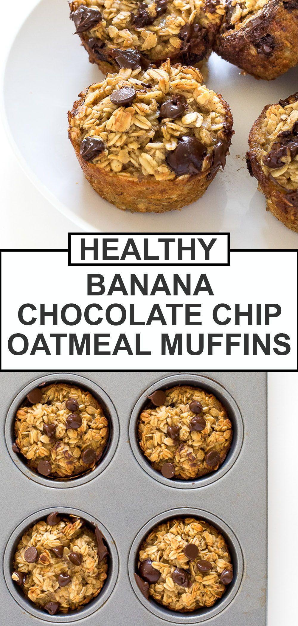 Healthy Banana Chocolate Chip Oatmeal Muffins Chef Savvy Recipe In 2021 Oatmeal Chocolate Chip Muffins Banana Oatmeal Chocolate Chip Muffins Healthy Chocolate Chip Muffins