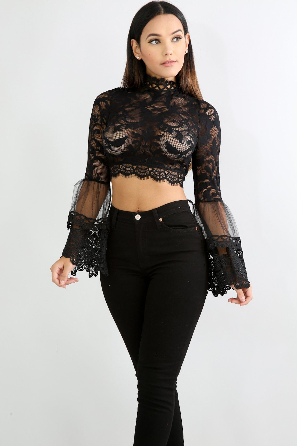 c1a8568b578d TULLE LACE PUFF SLEEVES DRESSY CROP TOP - BLACK