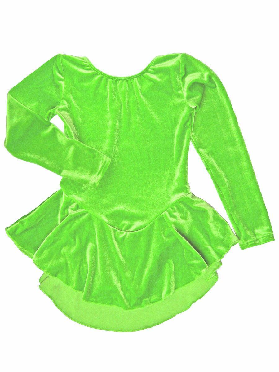 a81dbc06f Motionwear Neon Lime Velour Long Sleeve Skirted Leotard