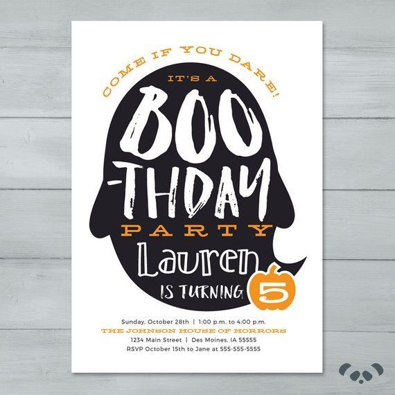 Halloween Birthday Party Invitation is part of Halloween birthday party invitations, Halloween birthday invitations, Kids halloween birthday party, Halloween party invitations, Birthday halloween party, Costume birthday parties - Halloween Birthday Party Invitation   Boothday Ghost Halloween Birthday Invite   Halloween Party In