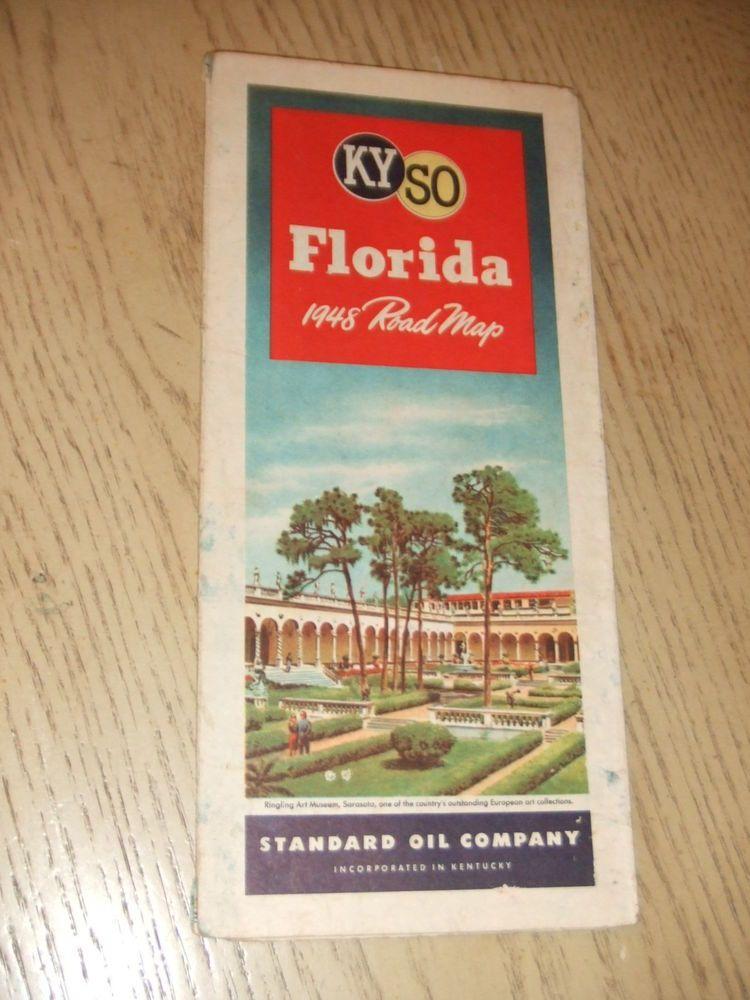 VINTAGE 1948 Standard Oil Gas Florida State Highway Road Map KYSO FL ...