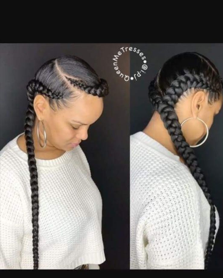 two feed in braids nails&hair
