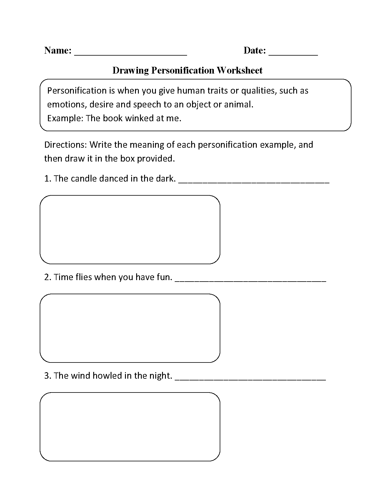 Drawing Personifcation Worksheet