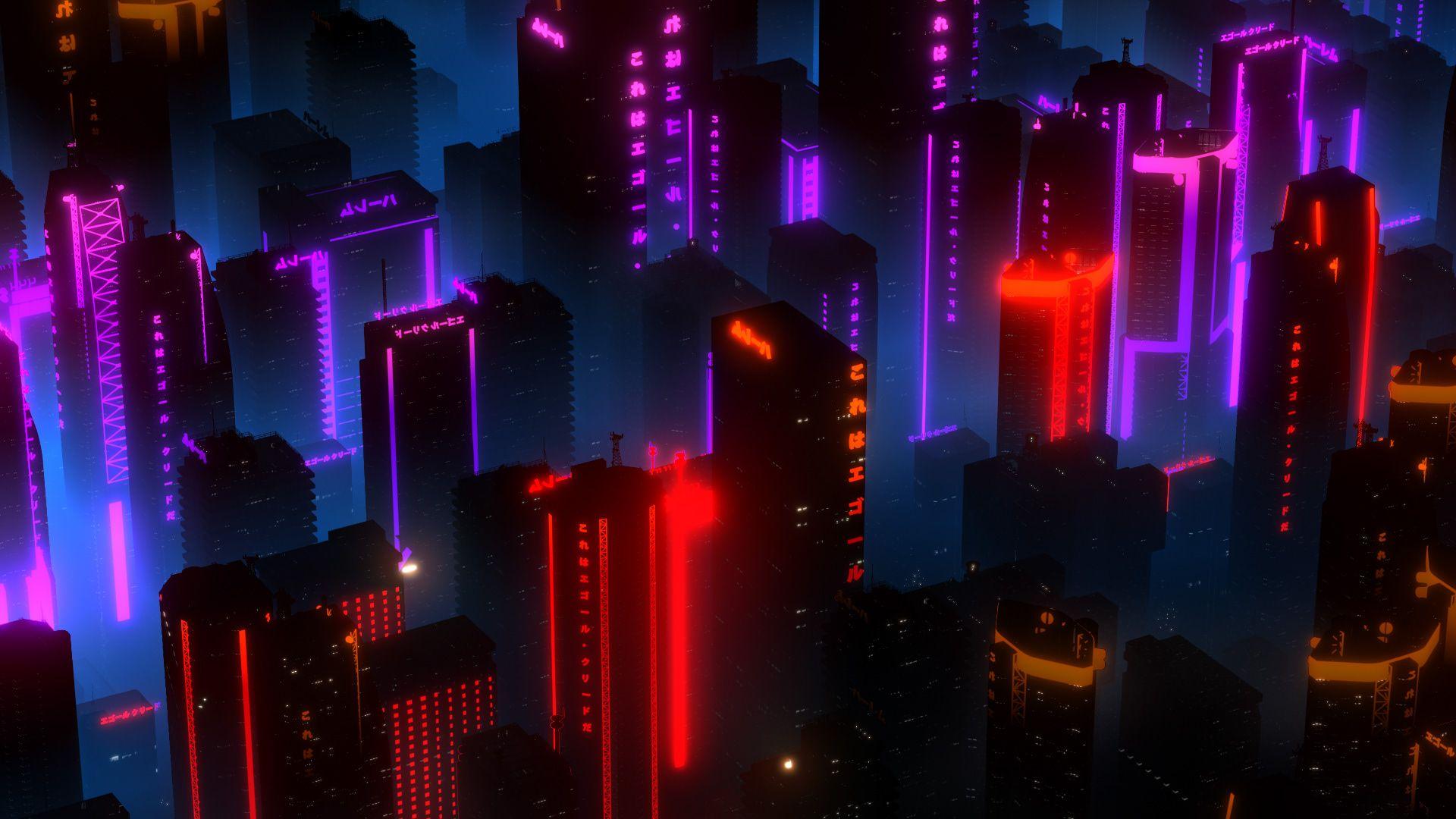 Neon Building 1920x1080 City Lights At Night Desktop Background Images Wallpaper