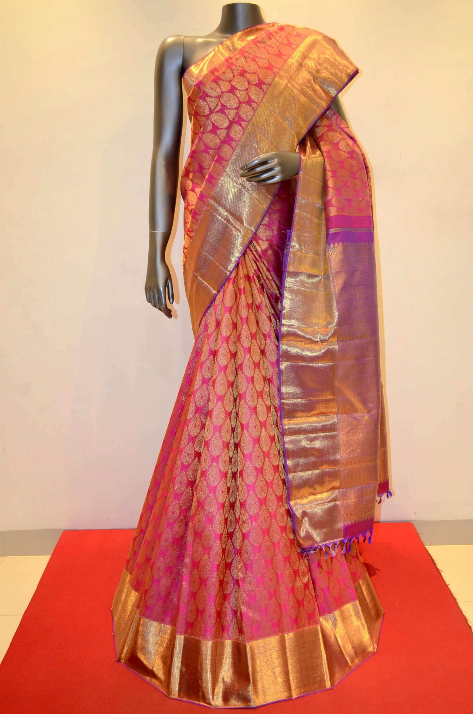 Designer pink wedding wear kanjivaram silk saree product code