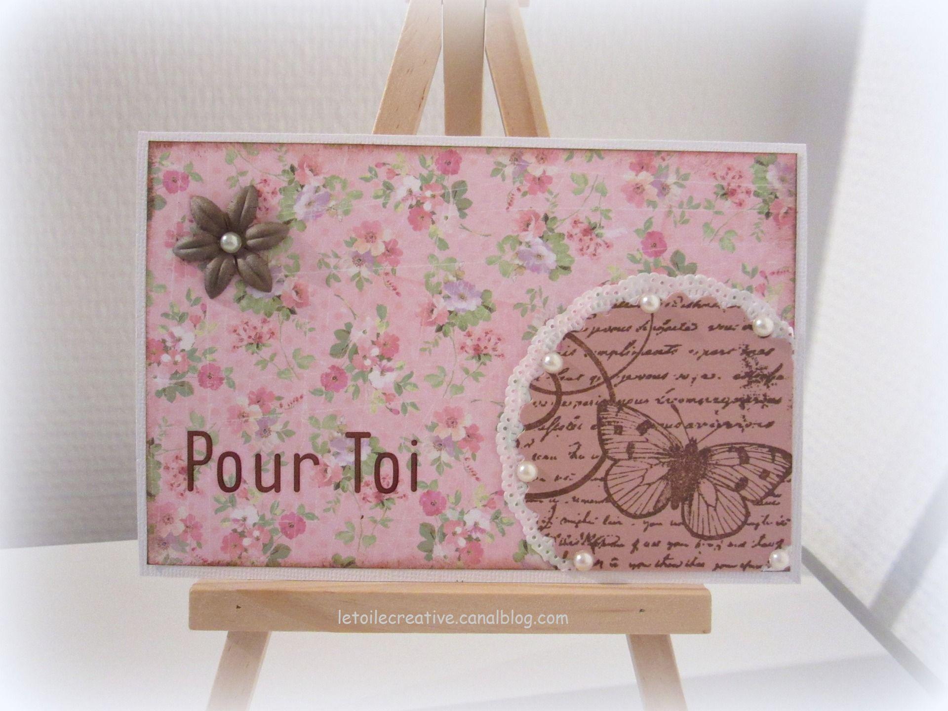 """Carte Shabby Tendresse """"Pour Toi"""" Fleurs, Papillon coloris rose : Cartes par etoile-du-nord"""