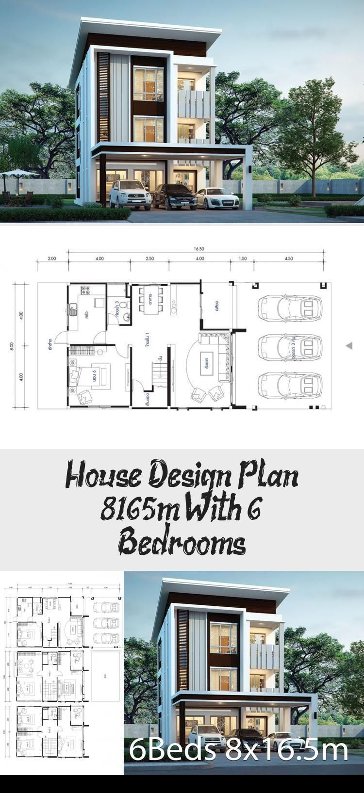 House Design Plan 8x16 5m With 6 Bedrooms Home Design With Plan Courtyardhous 8x165m Bedrooms In 2020 Home Design Plans Courtyard House Plans Sims House Plans