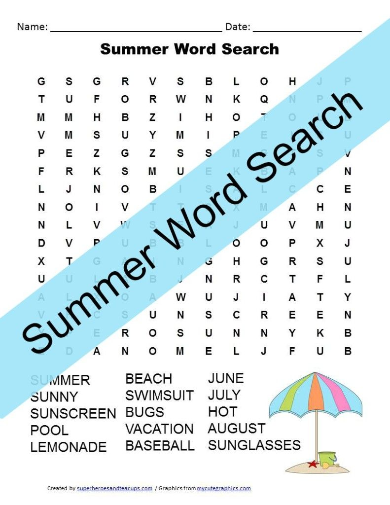 Summer Word Search Free Printable   Happy Sunglasses Day ...