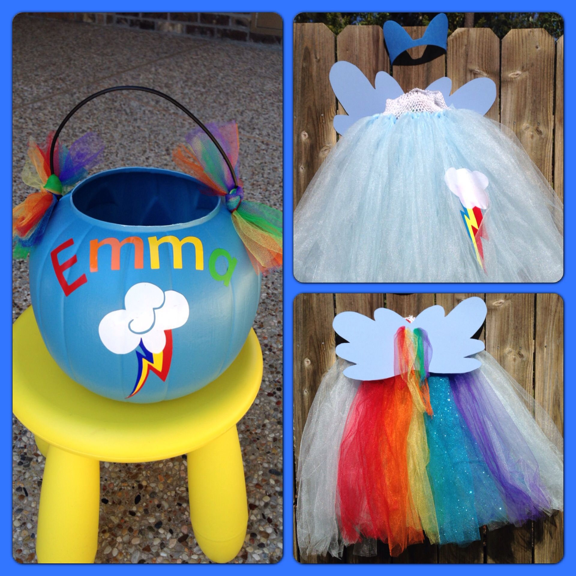Rainbow Dash handmade halloween costume & basket | Halloween ...