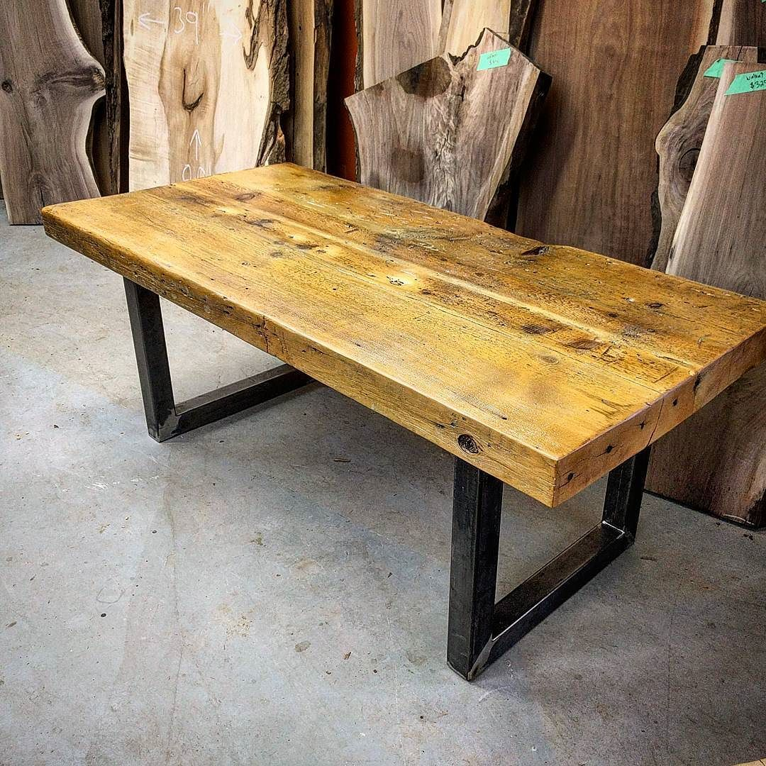 Introducing The One Of A Kind Chunkster Table This Beast Of A Table Is Made From Two Four Inch Thick Boards Th Walnut Dining Table Communal Table Wood Table [ 1080 x 1080 Pixel ]