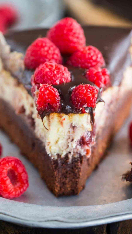 Brownie bottom raspberry cheesecake is the perfect dessert