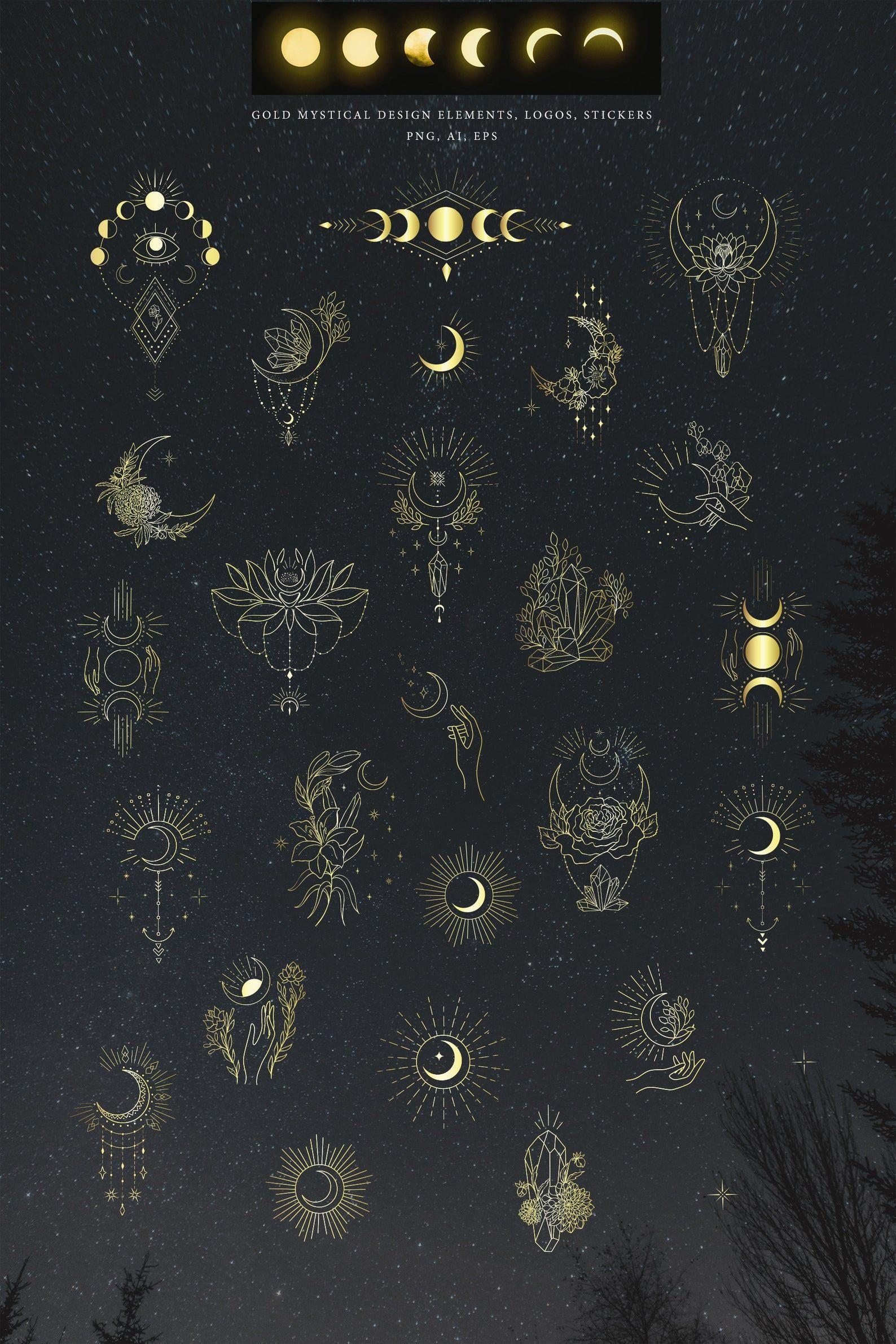 Moon Clipart Crystal Hand Drawn Botanical Floral Leaves Lunar Flower Magic Plant Spiritual Branch Tattoo Logo Astrology Yoga Cosmic Gold SVG