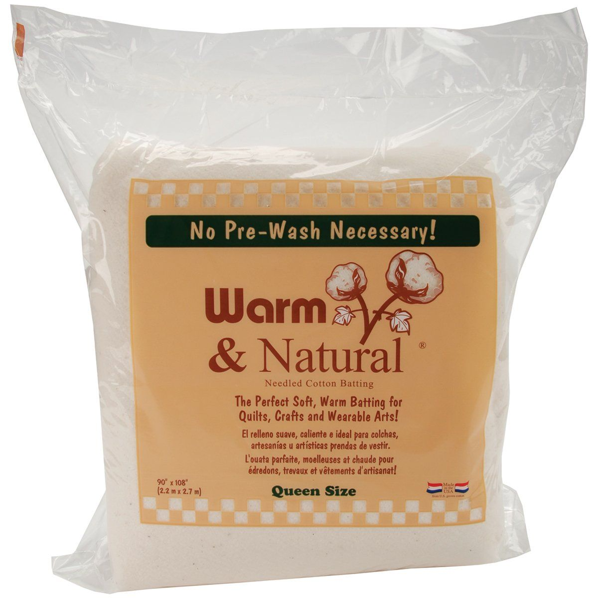 Warm Company Batting 90-Inch by 108-Inch Warm and Natural Cotton Batting, Queen